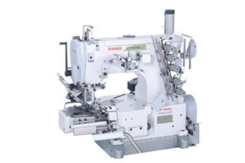 Промышленная 3-игольная плоскошовная машина Pegasus W664P-32DCx364/RP110A/HG301/UT320/Z054 с цилиндрической платформой для пошива предварительно сшитых поясов