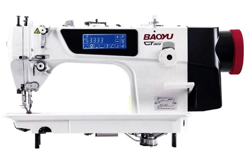 Baoyu GT-303 комп'ютерна промислова швейна машина з вбудованим енергозберігаючим сервомотором, сенсорним дисплеєм і подвійним транспортом матеріалу
