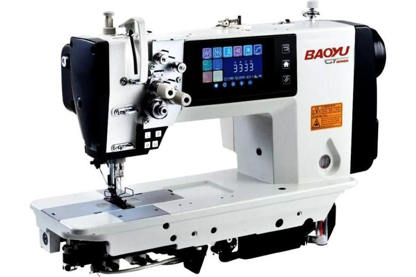 Комп'ютерна двохголкова швейна машина Baoyu GT-8450-3-64 з кольоровим сенсорним дисплеєм, відключенням голок, напівсухою головою і вбудованим сервомотором для легких і середніх тканин