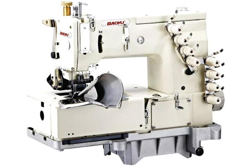 Чотирьохголкова промислова швейна машина ланцюгового стібка Baoyu BML-1504P-64 з заднім роликом для пришивання поясів