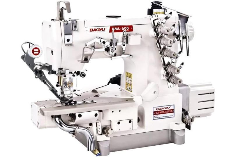Комп'ютерна промислова розпошивальна машина Baoyu BML-600D-35ZD/UTD-56 з вбудованим сервомотором, циліндричною рукавною платформою і вакуумним відсмоктуванням залишків обрізки