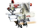 Промислова розпошивальна машина Baoyu BML-787-L200-AST-DS/H-56 з вбудованим сервомотором, циліндричною рукавною платформою з лівостороннім ножем і роликами для вшивання гумки в кільце