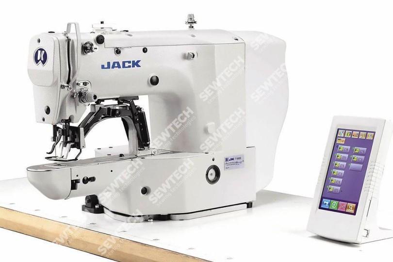Высокоскоростная электронная закрепочная машина Jack JK-T1906BH с площадью шитья 60x40мм для средних и тяжелых материалов