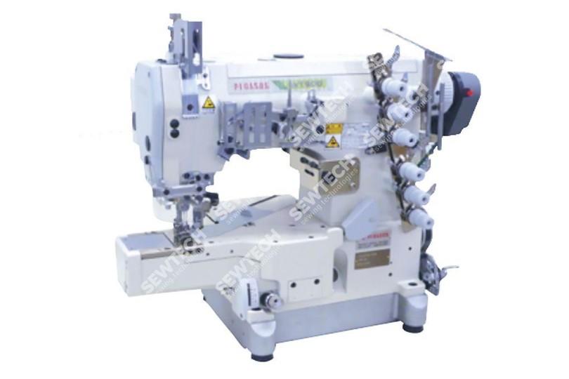 Промислова 6-ниткова плоскошовна машина Pegasus W664-01GB-Y2094 з можливістю двокольорового застилу шва за технологією Zebra-Stitch