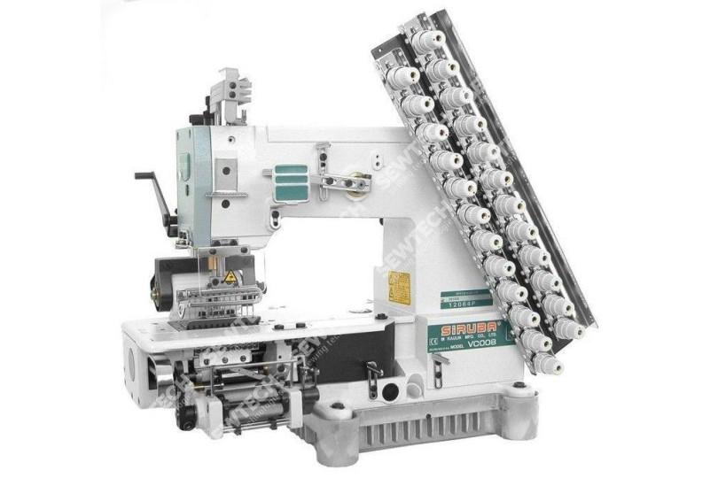Siruba VC008-12064P/VWL 12-игольная машина цепного стежка с рукавной платформой для притачивания резинки