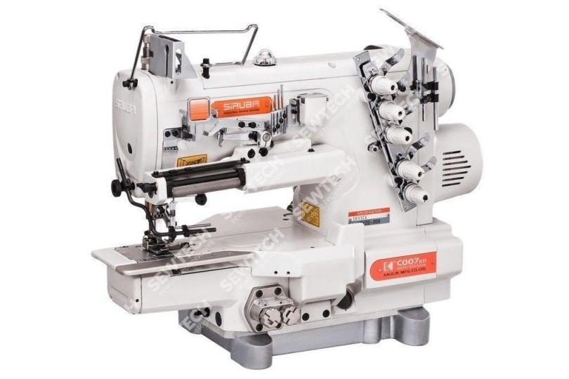 Siruba C007KD-W812-356/CRL/UTP/CL 3-голкова плоскошовная машина з рукавної платформою, верхнім і нижнім застилаючи для пришивання еластичної тасьми