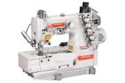 Siruba F007K-W522-356/364/FFC/FR 3-игольная плоскошовная машина с устройством подачи эластичных кружев и подрезкой материала справа