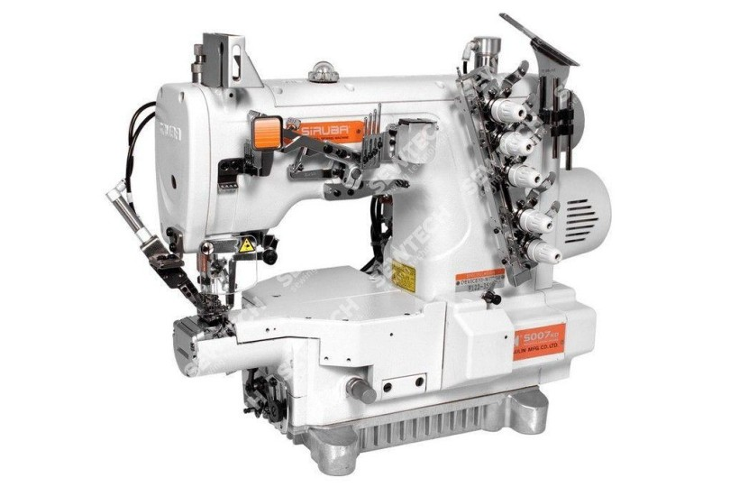 Siruba S007K-W122-356/PCH-3M 3-голкова плоскошовная машина з миницилиндрической платформою, пневмообрезкой ниток і вбудованим сервомотором